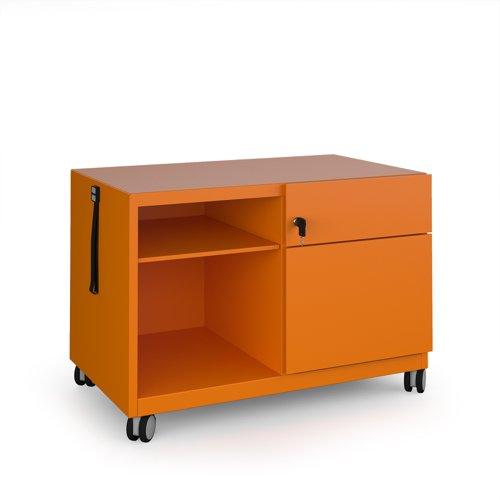 Bisley steel caddy right hand storage unit 800mm - orange