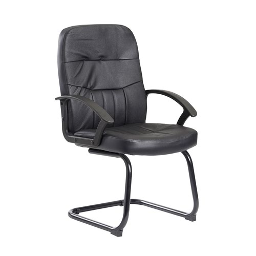 Cavalier executive visitors chair - black leather faced