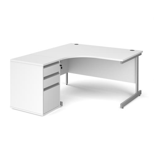 Contract 25 1400mm LH ergonomic desk with silver cantilever leg and 600mm 3 drawer desk high pedestal - white