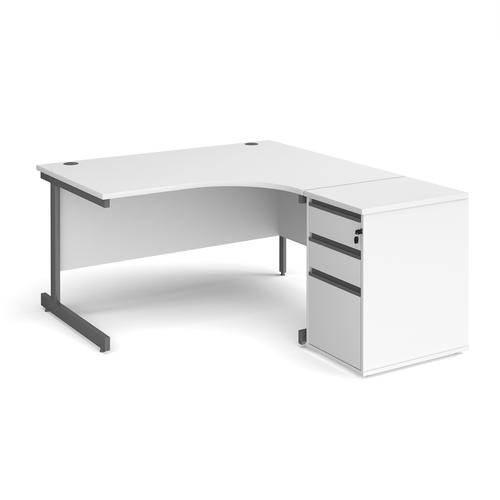 Contract 25 1400mm RH ergonomic desk with graphite cantilever leg and 600mm 3 drawer desk high pedestal - white