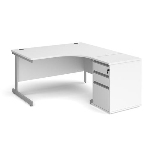 Contract 25 1400mm RH ergonomic desk with silver cantilever leg and 600mm 3 drawer desk high pedestal - white