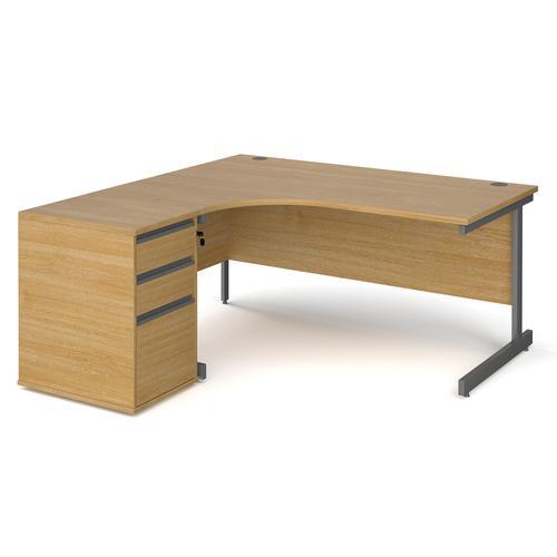 Contract 25 1600mm LH ergonomic desk with graphite cantilever leg and 600mm 3 drawer desk high pedestal - oak