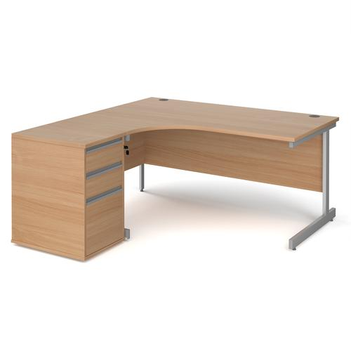 Contract 25 1600mm LH ergonomic desk with silver cantilever leg and 600mm 3 drawer desk high pedestal - beech