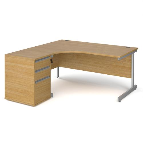 Contract 25 1600mm LH ergonomic desk with silver cantilever leg and 600mm 3 drawer desk high pedestal - oak