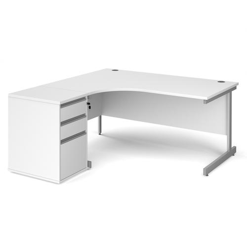 Contract 25 1600mm LH ergonomic desk with silver cantilever leg and 600mm 3 drawer desk high pedestal - white