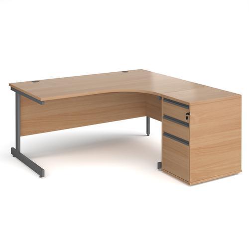 Contract 25 1600mm RH ergonomic desk with graphite cantilever leg and 600mm 3 drawer desk high pedestal - beech