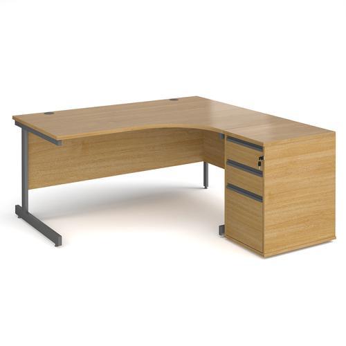 Contract 25 1600mm RH ergonomic desk with graphite cantilever leg and 600mm 3 drawer desk high pedestal - oak