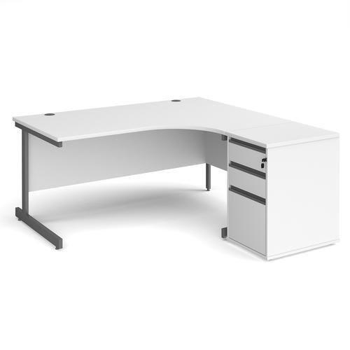 Contract 25 1600mm RH ergonomic desk with graphite cantilever leg and 600mm 3 drawer desk high pedestal - white