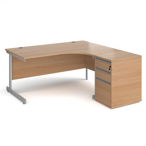 Contract 25 1600mm RH ergonomic desk with silver cantilever leg and 600mm 3 drawer desk high pedestal - beech