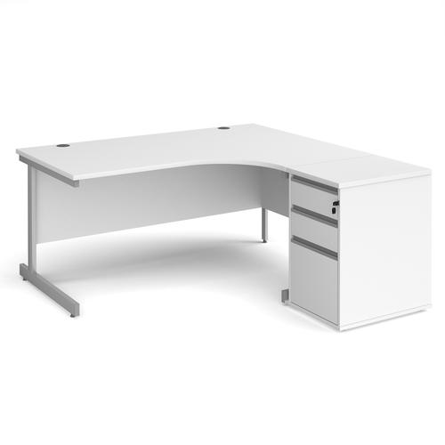 Contract 25 1600mm RH ergonomic desk with silver cantilever leg and 600mm 3 drawer desk high pedestal - white