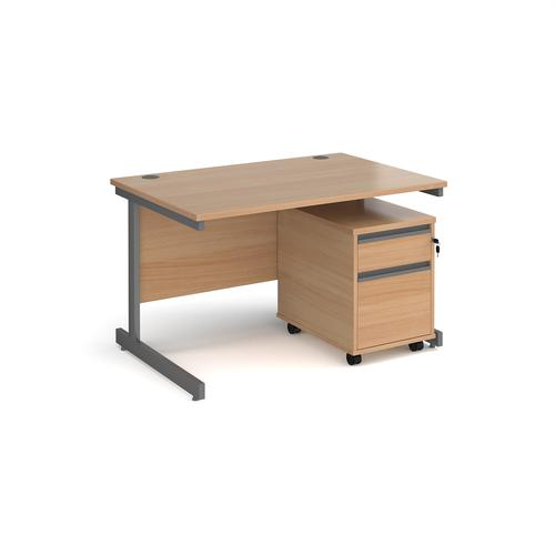 Contract 25 1200mm straight desk with graphite cantilever leg and 2 drawer mobile pedestal - beech