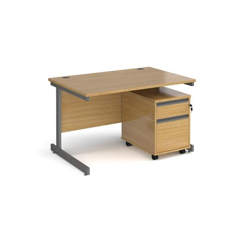 Contract 25 1200mm straight desk with graphite cantilever leg and 2 drawer mobile pedestal - oak