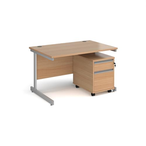 Contract 25 1200mm straight desk with silver cantilever leg and 2 drawer mobile pedestal - beech