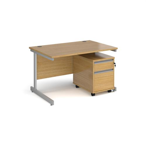 Contract 25 1200mm straight desk with silver cantilever leg and 2 drawer mobile pedestal - oak