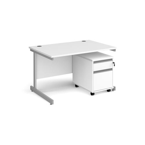 Contract 25 1200mm straight desk with silver cantilever leg and 2 drawer mobile pedestal - white