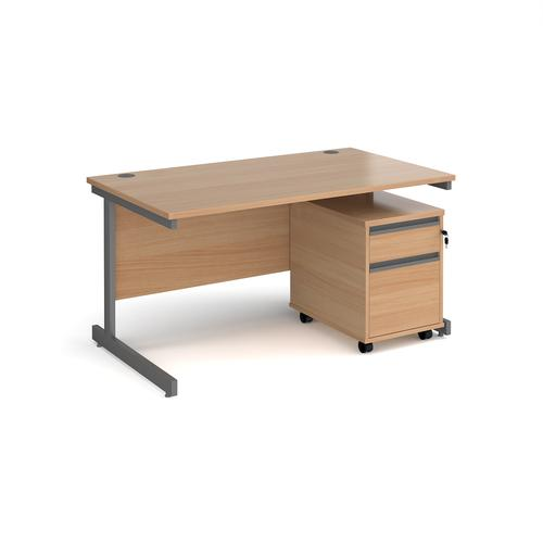 Contract 25 1400mm straight desk with graphite cantilever leg and 2 drawer mobile pedestal - beech