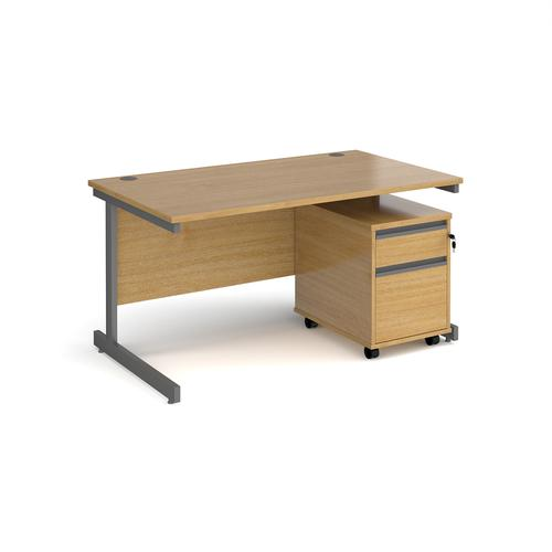 Contract 25 1400mm straight desk with graphite cantilever leg and 2 drawer mobile pedestal - oak