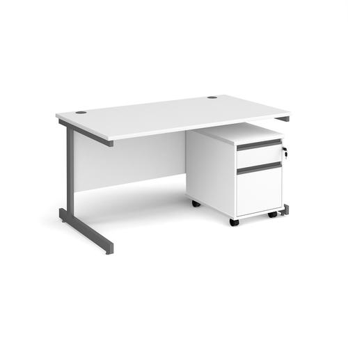 Contract 25 1400mm straight desk with graphite cantilever leg and 2 drawer mobile pedestal - white