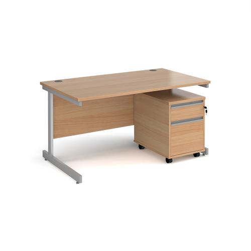 Contract 25 1400mm straight desk with silver cantilever leg and 2 drawer mobile pedestal - beech