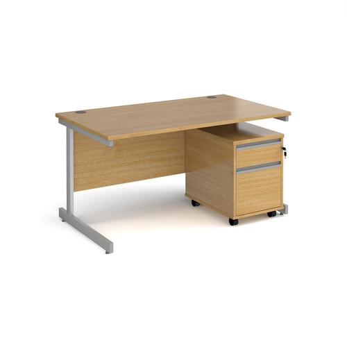 Contract 25 1400mm straight desk with silver cantilever leg and 2 drawer mobile pedestal - oak