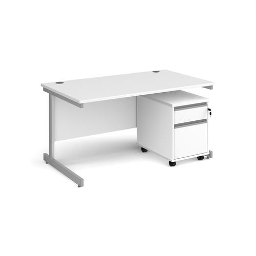 Contract 25 1400mm straight desk with silver cantilever leg and 2 drawer mobile pedestal - white