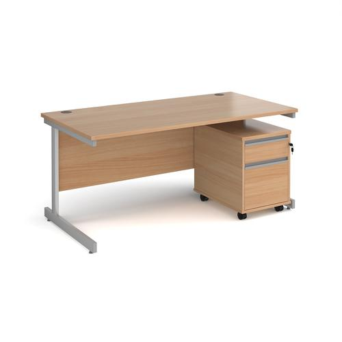 Contract 25 1600mm straight desk with silver cantilever leg and 2 drawer mobile pedestal - beech