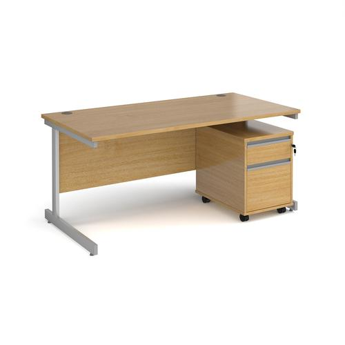 Contract 25 1600mm straight desk with silver cantilever leg and 2 drawer mobile pedestal - oak