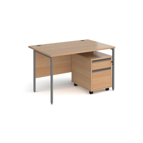 Contract 25 1200mm straight desk with graphite H-frame leg and 2 drawer mobile pedestal - beech