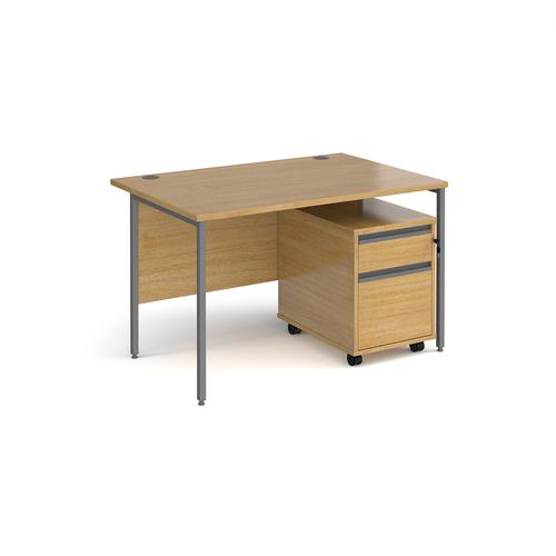 Contract 25 1200mm straight desk with graphite H-frame leg and 2 drawer mobile pedestal - oak