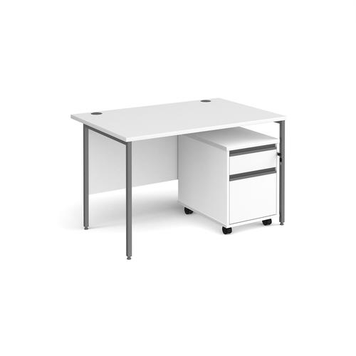 Contract 25 1200mm straight desk with graphite H-frame leg and 2 drawer mobile pedestal - white