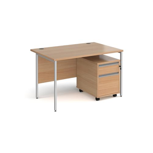 Contract 25 1200mm straight desk with silver H-frame leg and 2 drawer mobile pedestal - beech