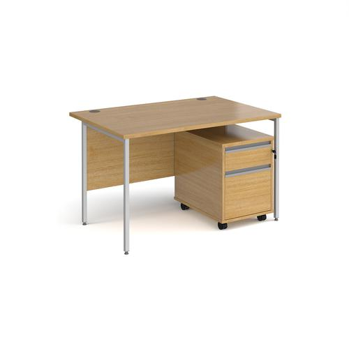 Contract 25 1200mm straight desk with silver H-frame leg and 2 drawer mobile pedestal - oak