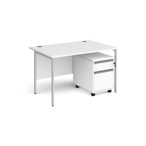 Contract 25 1200mm straight desk with silver H-frame leg and 2 drawer mobile pedestal - white