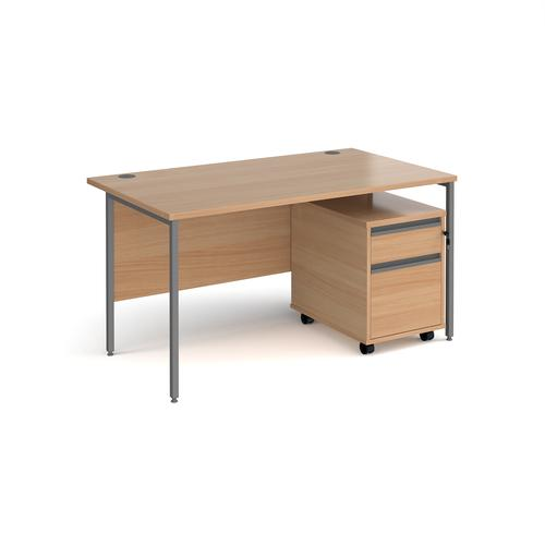 Contract 25 1400mm straight desk with graphite H-frame leg and 2 drawer mobile pedestal - beech