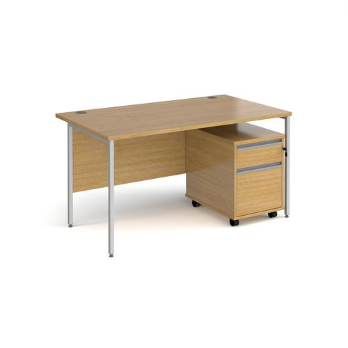 Contract 25 1400mm straight desk with silver H-frame leg and 2 drawer mobile pedestal - oak
