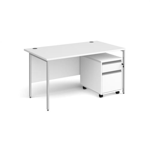 Contract 25 1400mm straight desk with silver H-frame leg and 2 drawer mobile pedestal - white