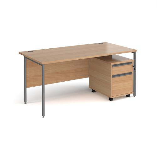 Contract 25 1600mm straight desk with graphite H-frame leg and 2 drawer mobile pedestal - beech
