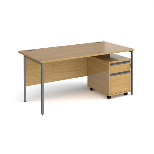 Contract 25 1600mm straight desk with graphite H-frame leg and 2 drawer mobile pedestal - oak