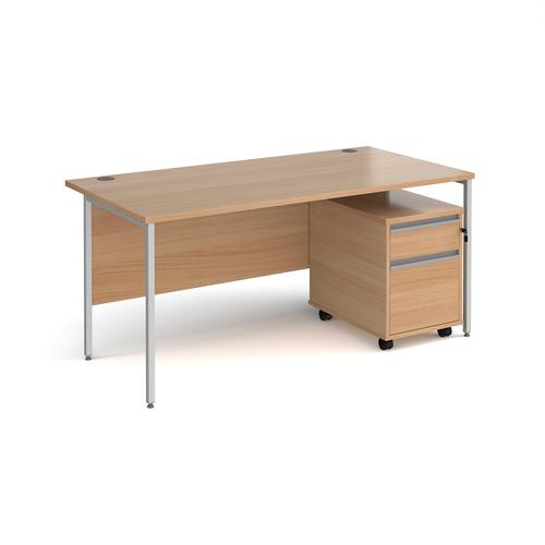Contract 25 1600mm straight desk with silver H-frame leg and 2 drawer mobile pedestal - beech