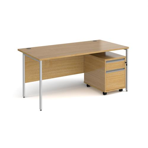 Contract 25 1600mm straight desk with silver H-frame leg and 2 drawer mobile pedestal - oak