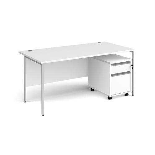 Contract 25 1600mm straight desk with silver H-frame leg and 2 drawer mobile pedestal - white