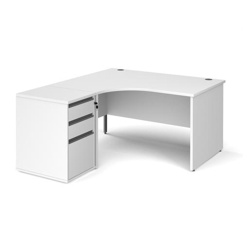 Contract 25 1400mm LH ergonomic desk with panel end legs and 600mm 3 drawer desk high pedestal with graphite handles - white