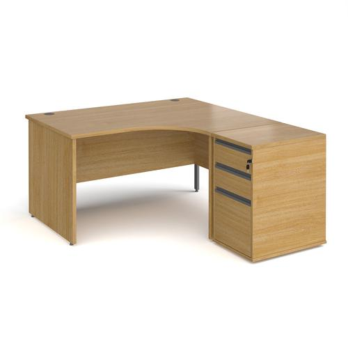Contract 25 1400mm RH ergonomic desk with panel end legs and 600mm 3 drawer desk high pedestal with graphite handles - oak