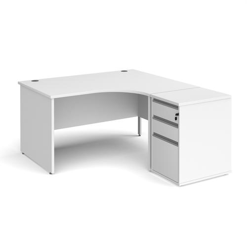 Contract 25 1400mm RH ergonomic desk with panel end legs and 600mm 3 drawer desk high pedestal with silver handles - white