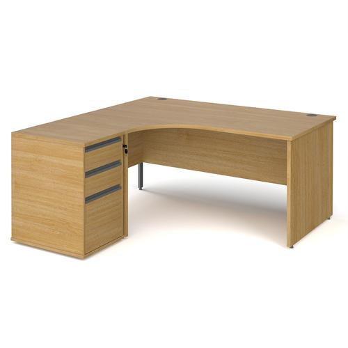 Contract 25 1600mm LH ergonomic desk with panel end legs and 600mm 3 drawer desk high pedestal with graphite handles - oak