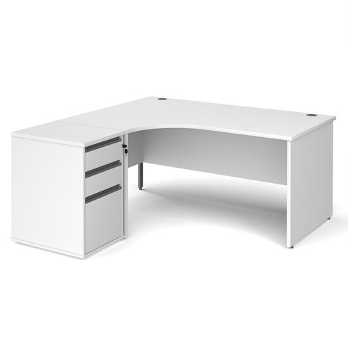 Contract 25 1600mm LH ergonomic desk with panel end legs and 600mm 3 drawer desk high pedestal with graphite handles - white