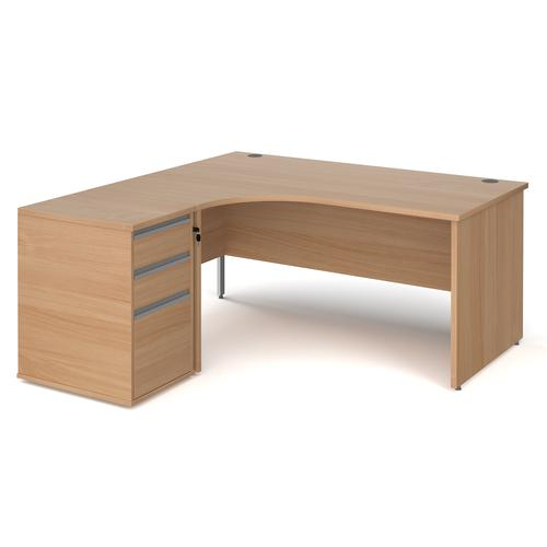 Contract 25 1600mm LH ergonomic desk with panel end legs and 600mm 3 drawer desk high pedestal with silver handles - beech