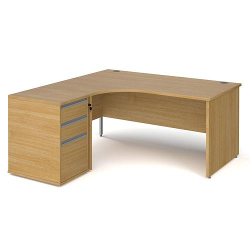Contract 25 1600mm LH ergonomic desk with panel end legs and 600mm 3 drawer desk high pedestal with silver handles - oak