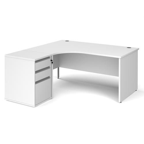 Contract 25 1600mm LH ergonomic desk with panel end legs and 600mm 3 drawer desk high pedestal with silver handles - white