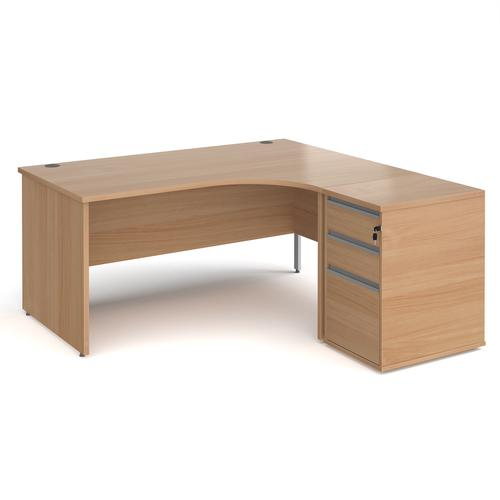 Contract 25 1600mm RH ergonomic desk with panel end legs and 600mm 3 drawer desk high pedestal with silver handles - beech